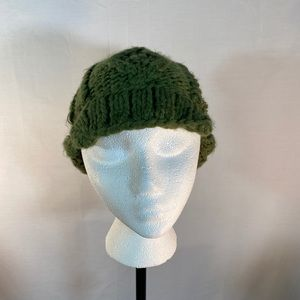 D&Y Ear Hat Knitted Green Pom Pom